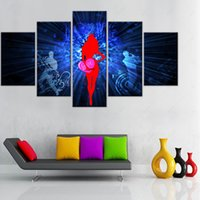 Wholesale Modern Paintings People - 5 Pieces No Frame Abstract People Sing Painting Modern Modular Picture Wall Art Purple Hearts Canvas Paintings Wall Decor For Living Room