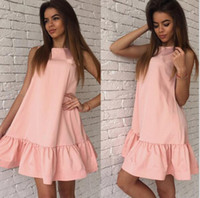 Wholesale Sexy Casual Tube - Vestidos Sexy Ruffles Women Dress Summer Sleeveless Casual A Line Bodycon Dresses Party Cocktail Short Mini Tube Beach Dress