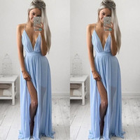 Wholesale Cheap Dress Fast Shipping - Cheap Baby Blue Prom Dresses 2017 Sexy Deep V Neck Stunning A-Line High Side Split Chiffon Beach Evening Gowns Sweep Train Fast Shipping