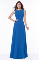indirimli elbiseler toptan satış-Kaliteli Uzun Nedime Elbise Scoop Boyun A-line Stil Mavi Şifon Kıyafeti Nedime için İndirim Stil