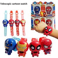 Wholesale Slap Watch Spiderman - New Arrival Captain America superhero toy cartoon spiderman watches slap snap wrist watch for children toys Christmas Gift