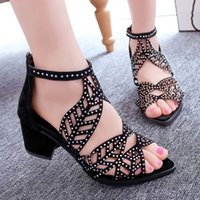 Wholesale Sexy Kitten Heel Sandals - Sexy summer chunky high heels pointed peep toe sandals with rhinestones rivets patent leather back zipper sandals women shoes Woman Shoes +B