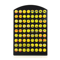 Wholesale office earrings - 36pairs Lot 8MM Round Yellow Cartoon Face Emoji Stud Earrings For Women Girls Office Lady Ear Jewelry Wholesale Free Shipping D347S