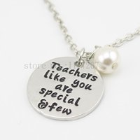 Unisex special teacher gifts - 2015 new arrive Teacher s Necklace Teacher Appreciation Gifts quot Teachers like you are special and few quot bead Silver Necklace
