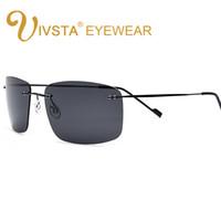 Wholesale Rectangle Driving Lights - IVSTA New 2017 The Matrix Style Polarized Driving Men Sunglasses Titanium Memory Frame Rimless Light Sun Glasses Mirror Lenses