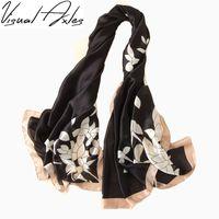 Wholesale Digital Print Silk Scarves - [Visual Axles] 2017 Fashion Women Summer and Autumn Silk Scarf Digital Print Floral Silk Shawls and Scarves 180cm*90cm SFN111