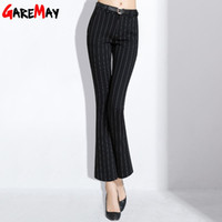 Wholesale Ladies Black Cargo Pants - Women Stripe Pants Flared Slim Black Vintage Pantalones Mujer Formal Pantalon Femme Trousers Elegant Pant Ladies GAREMAY 298