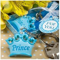 Wholesale Girl Baby Shower Ribbon - baby girl Princess Imperial crown key chain key ring keychain ribbon gift box baby shower favor souvenir wedding gift WA1634