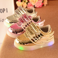 Wholesale Pink Rubber - Foreign trade 2017 autumn fashion casual wings sequins light up led shoes for kids boy girl flat platforms rubber gold silver pink 5.5-12