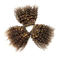 ingrosso tessuto marrone chiaro ombre-Capelli ricci Bob Sew In Hair Extension Double Drawn Weft F4 # / 27 # Ombre Capelli brasiliani Castano chiaro Miele Biondo Riccio crespo Weave