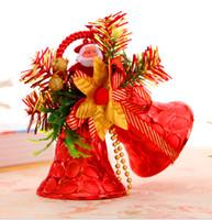 campana de navidad de plástico decoraciones al por mayor-Adornos navideños calientes colgantes de plástico de doble campana regalos de Navidad hechos a mano decoraciones para ventanas regalos para niños dos cargados