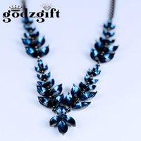 Wholesale Sapphire Leaf Necklace - Godzgift Brand New Austria Crystal & Zircon Long Charm Choker Necklace Leaf Sapphire Design Trendy Exquisite Classic Sale JN0027