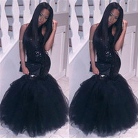 Wholesale Long Homecoming Dresses Size 16 - 2018 Elegant Black Girl Mermaid African Prom DressesEvening wear Plus Size Long Sequined Sexy Backless GownsCheap Party Homecoming Dress