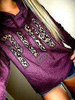 Wholesale Designer Fashion Hoodies - Fashion Women VS Leopard Pink Letter Hoodies 2017 Spring Designer Casual Long Sleeve Hooded Sweatshirts Autumn Pullovers Tracksuits Jumpers