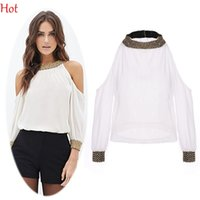 Wholesale Sequins Collar Blouse - Summer Spring Women Tops Sexy Chiffon Blouse Off-shoulder Tops Long Sleeve Sequins Ladies Clothing Stand Collar White Blouse Hot SV022006