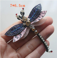 Wholesale Dragonfly Bags - 1Pcs Rhinestone Dragonfly Beaded Patch for Clothing Sewing on Beading Applique Shirt Shoes Bags Apparel DIY Decoration Patches