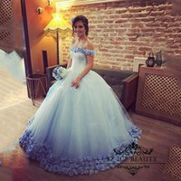 Wholesale Cheap Light Up T Shirts - 3D-Floral Flowers Ball Gown Quinceanera Dresses 2017 Off The Shoulder Lace Up Puffy Light Blue Tulle Cheap Sweet 16 Dress Prom Gowns