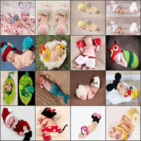 Wholesale crochet baby clothes - Baby Clothes Boy Shirts Newborn Baby Girls Boys Crochet Knit Costume Photo Photography Prop Outfits Photo Props