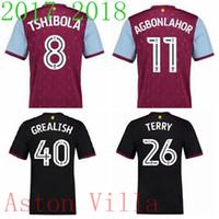 Wholesale Aston Red - 17 18 Jersey Aston Villa #26 Terry Hogan Lansbury Hourihane Adomah Maillot 2017 2018 John Terry EFL Championship Football Shirts