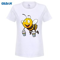 Wholesale Ladies Cotton Shirts Designs - Big Bee Printing T-shirt Short Sleeve T Shirt Slim Casual Basic Tops Fashion Freemind Design Lady Funny Cool Tee WTJ018