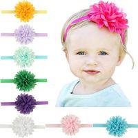 Wholesale Chiffon Flower Heads For Headbands - Baby Headbands Chiffon Flower Kids Elastic Cute Hairbands Newborn Infant Head Bands for Girls Children Hair Accessories KHA127