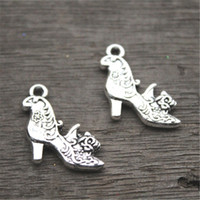 Wholesale Tibetan Silver High Heel Charms - 15pcs--High Heel Shoe Charms, Antique Tibetan silver 2 sided High Heeled Shoes with flowers Charm Pendant 20X19mm