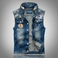 Wholesale Embroidery Menswear - Wholesale- Brand New M-3XL Embroidery Vest Men Jean Denim Vest Sleeveless Jacket High Street Fashion Menswear Destroyed Washed Denim Vest
