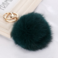 Wholesale Wholesale Women Dresses Trendy - Real Rabbit Fur Ball Keychain 8cm fluffyl Key Chains Ball Pom Poms Plush pompon Keychain Car Keyring Bag dress Earrings Accessories