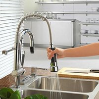 Wholesale Contemporary Gold Sink Faucets - Chrome Faucet Contemporary Spring loaded Kitchen Sink Gold Faucet with Ceramic Valve Single Handle One Hole