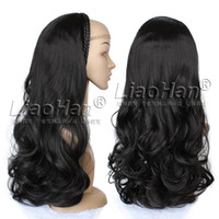 Wholesale 3 Wig Half Fall Natural Black Hair Fall Loose Wavy Half Head Black Wig Fall