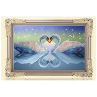 5D DIY Kits de peinture au diamant Round Rhinestone Draw Diamond broderie Animaux Swan Cross Stitch Kit Mosaic Picture Swans in Love