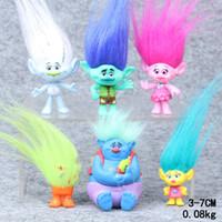 Wholesale Video Hair - 2016 Hot Sale 6pcs Trolls Action Figure Play Set Movie Cartoon Magic Long Hair Dolls Toys Kids Children Gift