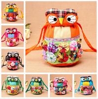 Wholesale Hand Bag Owl - Wholesale - National wind bag shoulder Messenger bag cotton hand bag owl shape storage bags bucket bags IA036