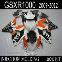 motocicletas gsxr plásticos venda por atacado-Molde de injeção ABS kit de carenagem de plástico para Suzuki GSXR1000 09 10 11 12 carenagem de motocicleta preto branco laranja gsxr 1000 2009-2012 IT40