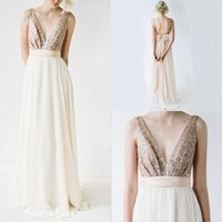 Wholesale golden wedding gowns resale online - 2017 Sexy Golden Bridesmaid Dresses Long Chiffon Sequin Backless Deep V Neck Wedding Bridesmaid Gowns Party Dresses