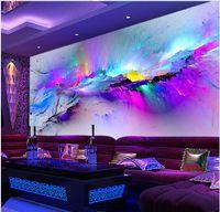 neue hintergrundtapeten großhandel-Neue benutzerdefinierte 3d schöne farbe blend nebelfleck bar ktv hintergrund wandbild 3d wallpaper 3d tapeten für tv hintergrund