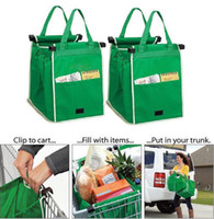Wholesale Grocery Carts - Grab Bag Trolley Shopping Bag Clip-To-Cart Grocery Shopping Bag Eco-friendly Reusable Large Capacity Foldable Tote Storage Organizer D826