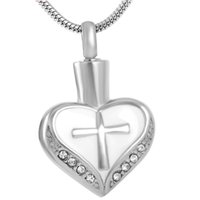 Wholesale Stainless Steel Jewelry Engraved - IJD8098 Heart Stainless Steel Cremation Pendant Necklace Cross Engraved Crystal Ashes Keepsake Urn Necklace Funeral Jewelry