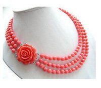 "Wholesale Pink Coral Beaded Necklace - New AMAZING 3row 18"" 7mm round pink coral necklace"