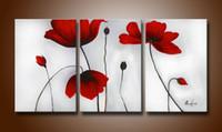 kırmızı soyut sanat resimleri toptan satış-El Boyalı Soyut Yağlıboyalar Ateşli-kırmızı Çiçeklenme Çiçekler 3 adet / takım Ahşap Çerçeveli Oturma Odası Için Sanat Eseri Ev Dekorasyon