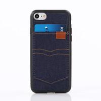 fundas iphone vaquero al por mayor-Fashional Cool Cowboy Back Case para iPhone 7 6 Plus con ranura para tarjeta Fundas con tapa para teléfono celular Estuches de TPU para Iphone 5