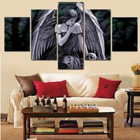Wholesale Wall Art Heaven - 5pcs set Unframed Lost Soul Heaven and Hell's Angel Oil Painting On Canvas Giclee Wall Art Painting Art Picture For Home Decor