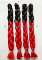 Wholesale Style Gradual - chemical, chemical fiber, large braid, African style, gradual color, 165G 2-15 factory direct sales 1B RED
