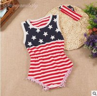 Wholesale Flag Romper - Striped Baby Romper Set 2017 Summer USA Flag Striped Romper Bodycon Jumpsuit Baby Onesies Girl Jumpsuit Toddler Infant Outwear Bodysuit