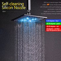 Wholesale Self Powered Led Shower Head - Three Color Change According To Water Temperature Self Power with LED Generator Wall Mounted Copper Shower