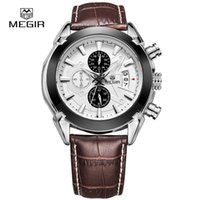 Wholesale Current Watches - MEGIR Chronograph Function Men's Current Watches Genuine Leather Luxury Men Top Brand Military Watch Relogio Masculino