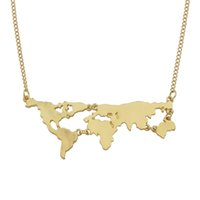 Wholesale Map Models - Fanhua New Model Metal World Map Pendant Necklaces