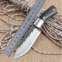 Wholesale Forging Damascus - Straight Handmade forged Damascus Steel pattern hunting knife fixed blade knife 59RC ebony handle