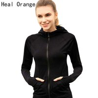 Wholesale white hoodies for ladies - Wholesale-Heal Orange Running Jacket For Women Yoga Zipper Long Sleeve Women Sport Jacket Fitness Ladies Hoodies Sports Women's Clothing