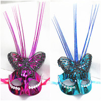 Wholesale Horror Face Makeup - new style Colorful butterflies embroidered with bright silk mask Sexy dance performance lady makeup mask photography props Halloween mask